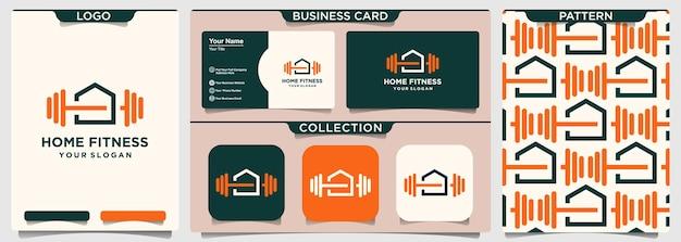 Domowe studio fitness logo projektuje szablon wektorowy
