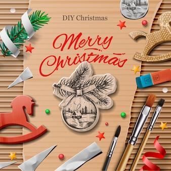 Domowe zapakowane prezenty świąteczne z elementami sztuki i rękodzieła