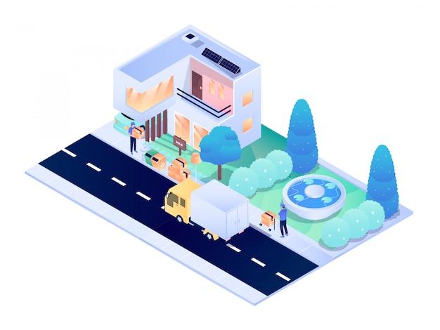 Domowej rezydencji miasta projekta wewnętrzna zewnętrzna isometric wektorowa projekt ilustracja