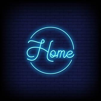 Domowi neonowi znaki projektują teksta wektor