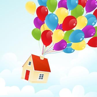 Domówka. śliczny dom latający na kolorowych balonach na niebie