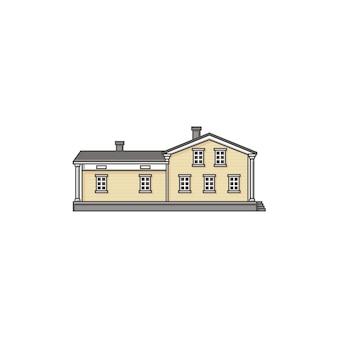 Domowy budynek na bielu