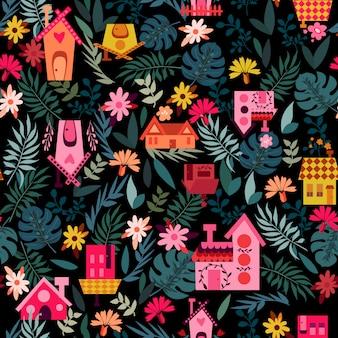 Domowy czarny wzór z liśćmi