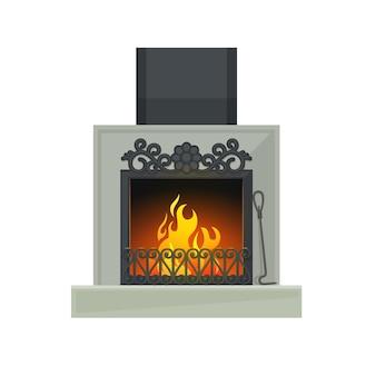 Domowy kominek lub serce na drewno z płomieniem