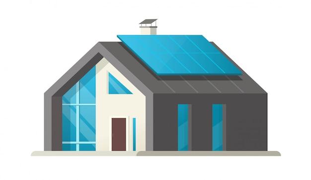 Domowy mądrze odosobniony lub domowy panelu słonecznego eco nowożytna przyszłość lub współczesny luksusowy willi budynek mieszkaniowy z ekologiczną energetyczną technologii kreskówki ilustracją