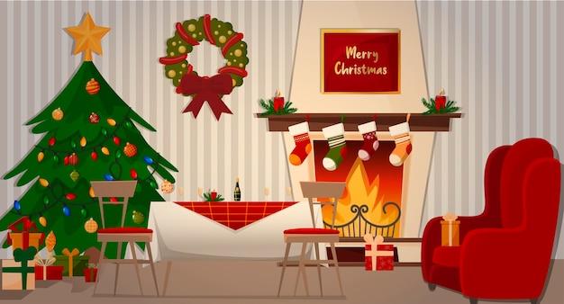 Domowy obiad z rodziną. kominek, fotel, choinka, świąteczny stół i prezenty.