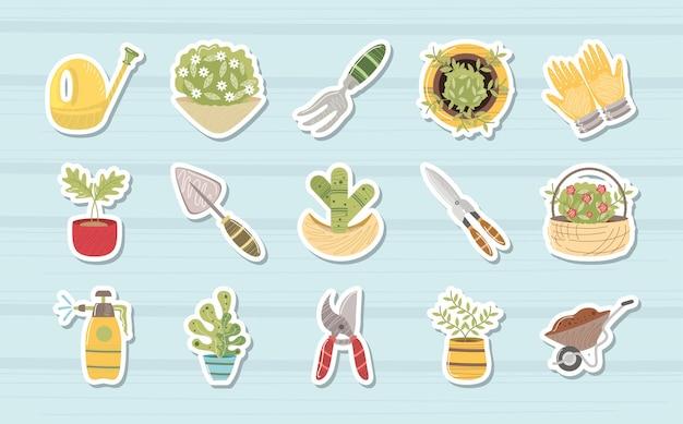 Domowy ogród konewka grabie roślin nożyczki taczki ikony ilustracja