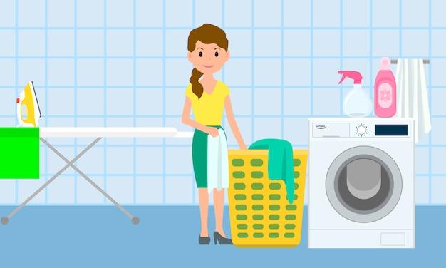 Domowy pralnia koncepcja transparent, płaski