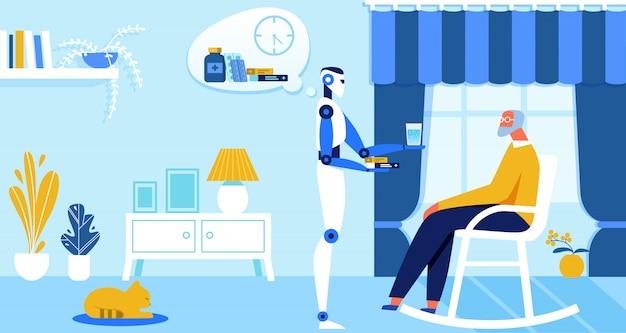 Domowy robot przynieś medycynę starszemu właścicielowi, ai.