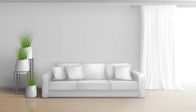 Domowy salon minimalistyczny, słoneczne wnętrze w białych kolorach z sofą na podłodze laminowanej, długa, ciężka zasłona na pręcie okiennym, ceramiczne doniczki z zielonymi ilustracjami roślin