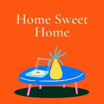 Domowy słodki domowy szablon wektor do ręcznie rysowanego baneru wewnętrznego .