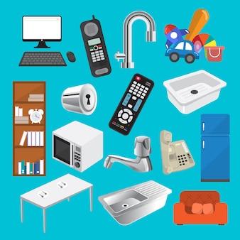 Domowy sprzęt wektor zestaw