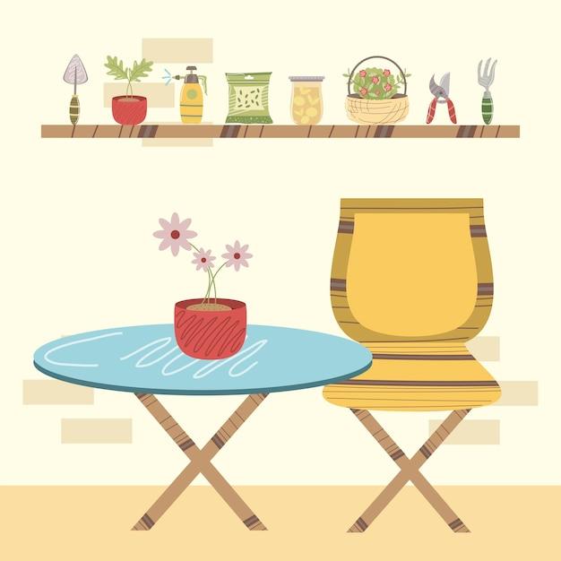 Domowy stół ogrodowy z kwiatami w doniczce i roślinami na ilustracji półki