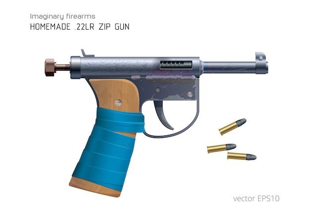 """Domowy """"zamek błyskawiczny"""" i amunicja 22lr. realistyczny obraz wektorowy. pistolet małego kalibru wykonany z tanich improwizowanych detali. szorstki drewniany uchwyt z niebieską taśmą klejącą. zabawny prowizoryczny pistolet."""