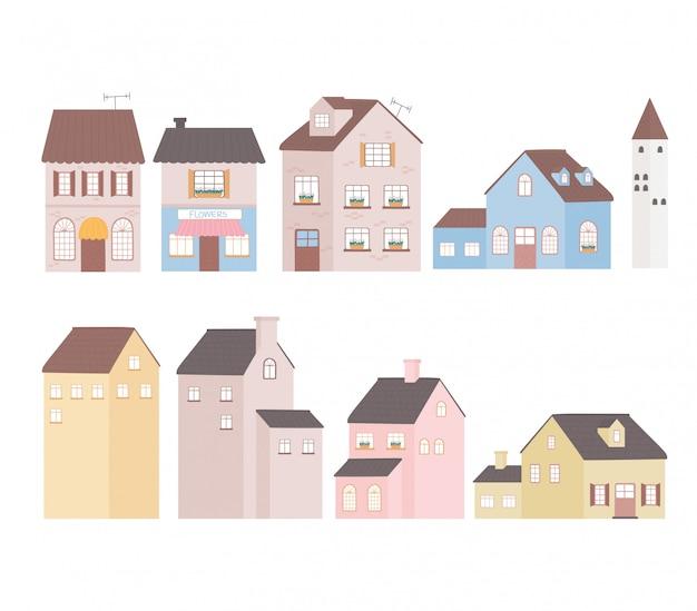 Domy budynku domu wierza mieszkaniowe handlowe fasadowe ikony ilustracyjne