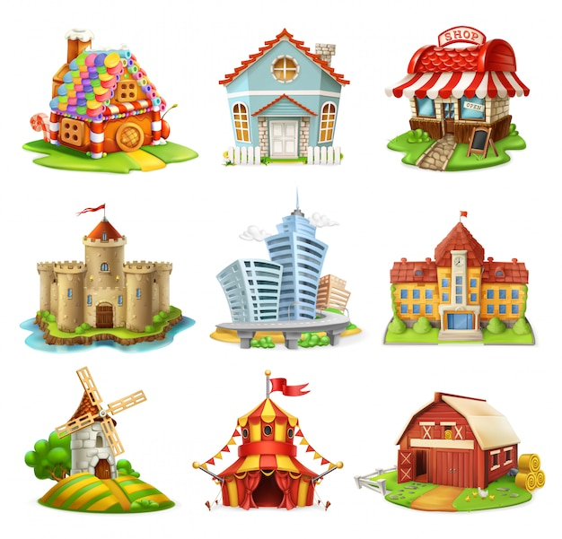 Domy i zamki. słodki dom, budynki