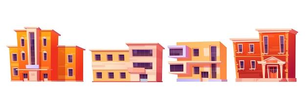 Domy miejskie, budynki mieszkalne, biuro lub sklep na białym tle. kreskówka zestaw elewacji domu mieszkalnego, architektury biznesowej i handlowej w stylu nowoczesnym i klasycznym