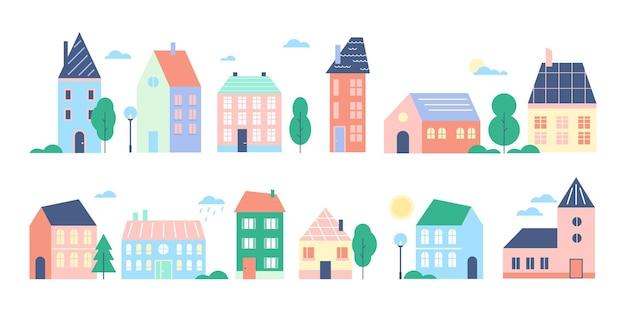 Domy miejskie lub miejskie ładny kolorowy miejski pejzaż z kreskówek kolekcja nowoczesnych kamienic w stylu retro