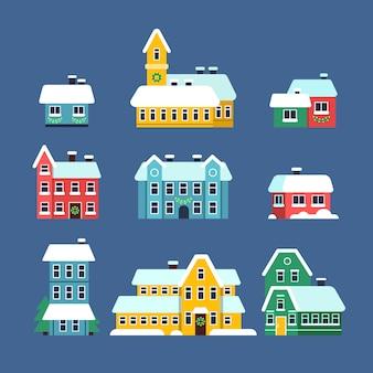 Domy na dachu ze śniegiem. zimny sezon miejski śnieżny miasto śnieżyca z płatków śniegu płaskie ilustracje