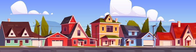Domy podmiejskie, ulica podmiejska z domkami.