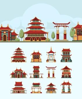 Domy w chinach. tradycyjne wschodnie budynki piękny dach japonia obiekty architektoniczne płaskie ilustracje. budynek w japonii, chiński tradycyjny dom