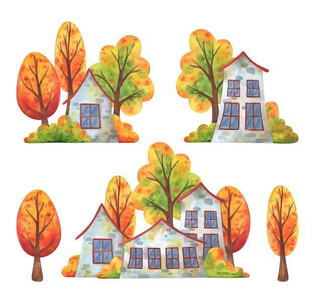Domy w mieście jesienią. zestaw ilustracji przedstawiających krajobraz ulicy i spadające drzewa.