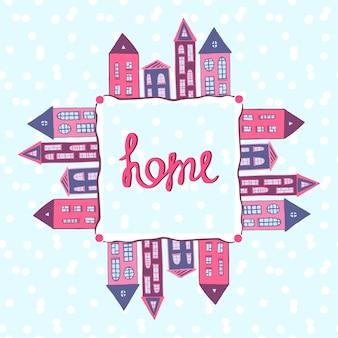 Domy w tle. napis do domu. zimowa ulica ze śniegiem. rama domów wektor, baner.