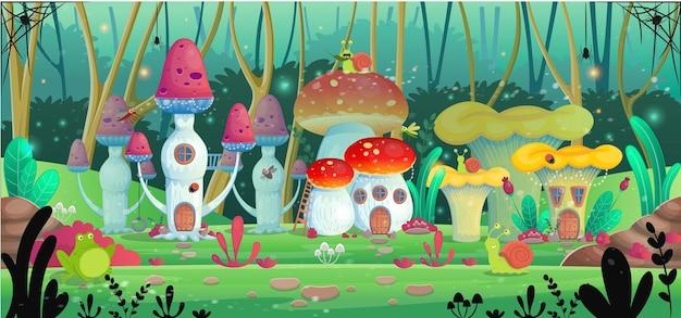 Domy z grzybami. ilustracji wektorowych.