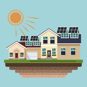 Domy z panelami słonecznymi na dachach