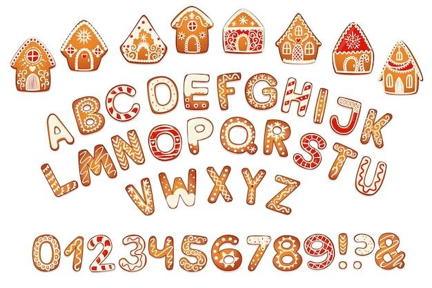 Domy z piernika i zestaw alfabetu. słodkie świąteczne tradycyjne ciasteczka z białym lukrem dekoracji. ilustracja wektorowa.