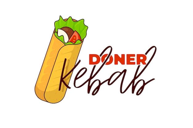 Doner kebab fast food rolka mięsna z napisem menu restauracji szablon projektu symbol reklamy