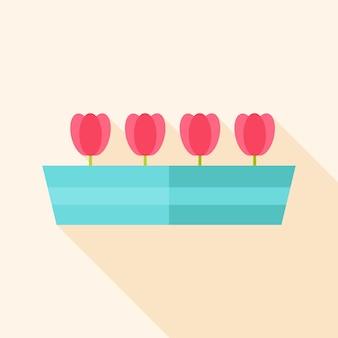 Doniczka ogrodowa z tulipanami. płaska stylizowana ilustracja z cieniem