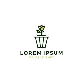 Doniczka wektor logo ikona wiadro