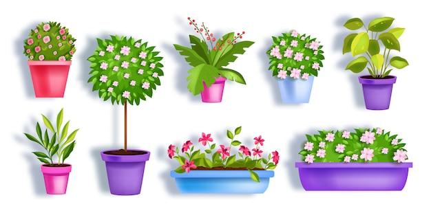 Doniczki ogrodowe wiosenne zestaw z kwitnącymi roślinami domowymi, drzewem kwiatowym, zielonymi liśćmi, sadzonkami.