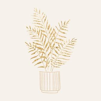 Doniczkowa roślina doniczkowa wektor brokatowy doodle