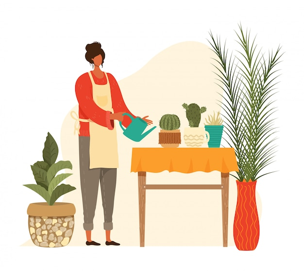 Doniczkowe domowe rośliny, kobieta plantatora ogrodnictwo, miastowy kaktus i kaktusy, palmy kolekcja odizolowywająca na białej ilustraci.