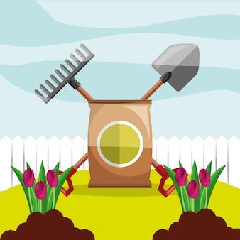 Doniczkowe gleby łopata i grabie kwiaty ogrodowe sadzenia