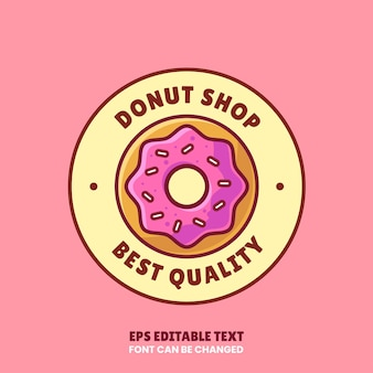 Donut shop logo vector icon illustration in flat style premium isolated donut logo for coffee shop