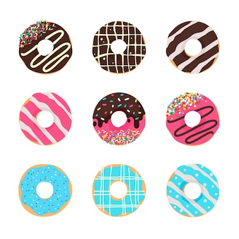 Donut vector okrągłe pączki z kolorowymi otworami pokryte pyszną czekoladą.