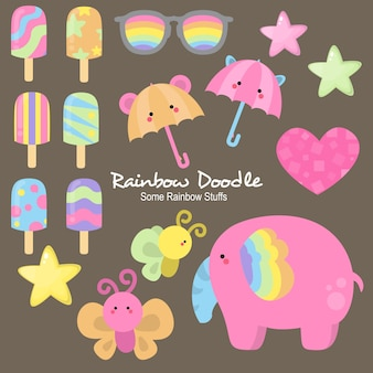 Doodle alice rainbow objects