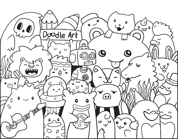 Doodle art chibi monster and animals