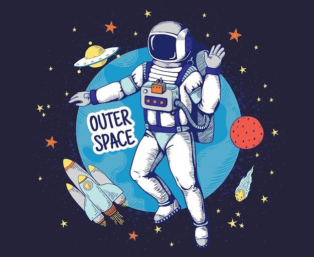 Doodle astronauta. ręcznie rysowane plakat chłopców kosmicznych, planeta gwiazdy obiekty kosmiczne, elementy kreskówki astronomii. astronauta rozstawione tło