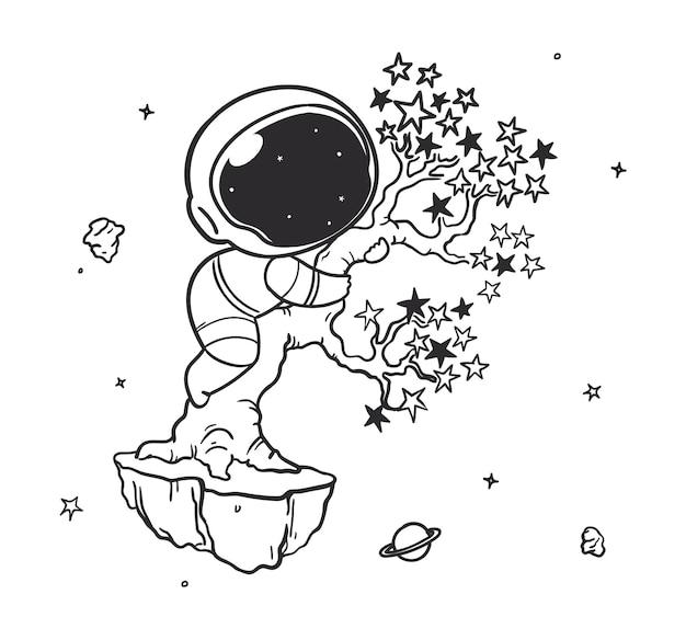 Doodle astronauta wspina się na gwiezdne drzewo w kosmosie