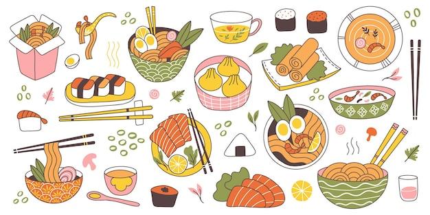 Doodle azjatycka kuchnia japońska tradycyjne pyszne jedzenie. chiński, koreański, japoński ryż, makaron, dania rybne i mięsne wektor zestaw ilustracji. jedzenie kuchni orientalnej