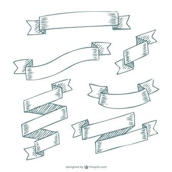 Doodle banery wstążki darmo
