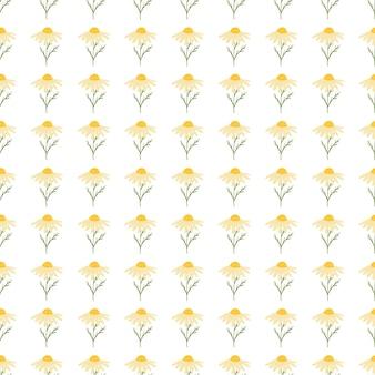 Doodle bezszwowy kwiatowy wzór z małym nadrukiem sylwetki żółtego nagietka