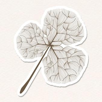 Doodle brązowa naklejka z liściem koniczyny z białą obwódką