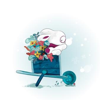 Doodle bunny malowanie akwarela w kwiatowy.