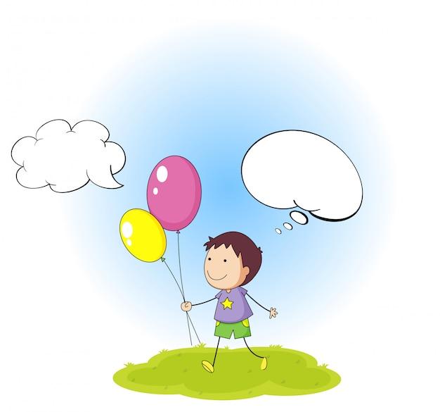 Doodle chłopiec z mowa balonem
