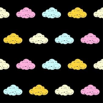 Doodle chmury bezszwowe tło wzór. abstrakcyjna próbka chmur na kartę, zaproszenie, plakat, tkaninę, nadruk torby, nowoczesną reklamę warsztatową, koszulkę itp.